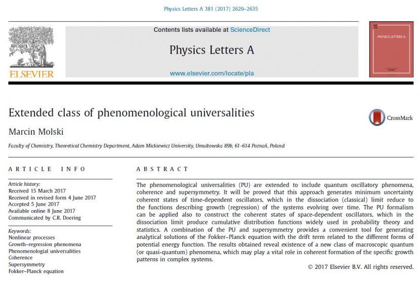 Marcin Molski - Extended class of phenomenological universalities