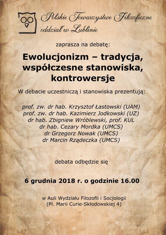 Ewolucjonizm – tradycja, współczesne stanowiska, kontrowersje. Debata