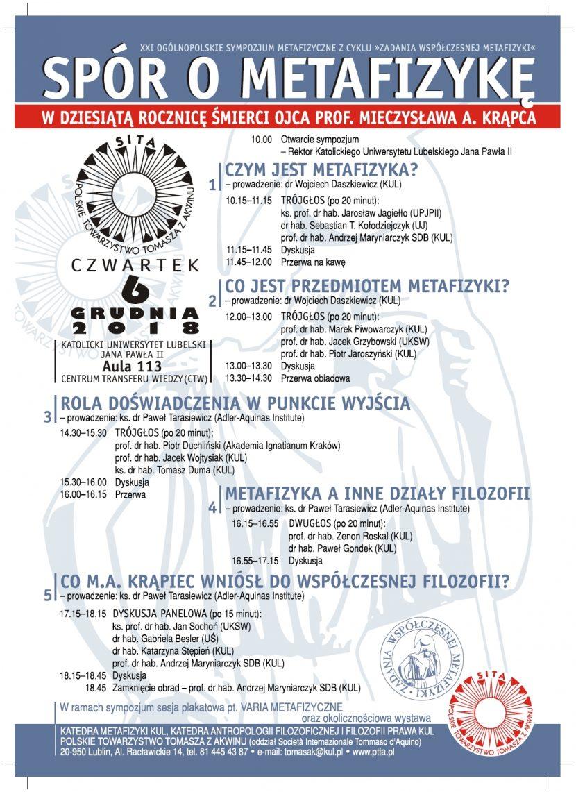 """XXI Ogólnopolskie Sympozjum Metafizyczne z cyklu """"Zadania współczesnej metafizyki"""" SPÓR O METAFIZYKĘ"""