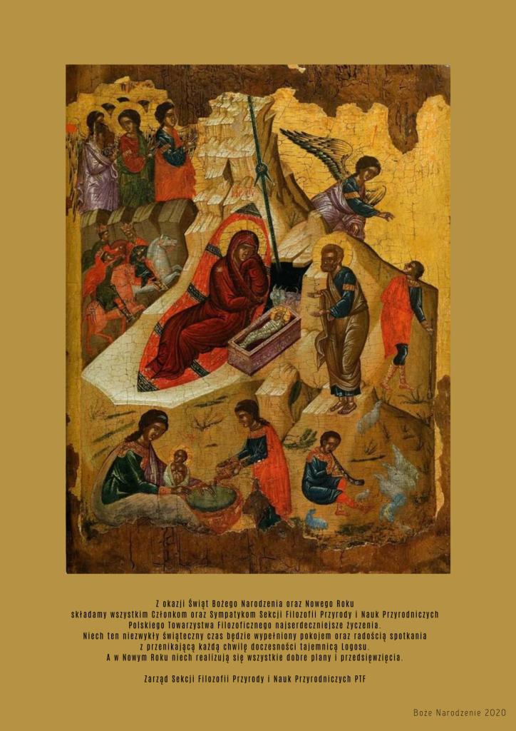 Boże Narodzenie 2020. Życzenia Zarządu Sekcji Filozofii Przyrody iNauk Przyrodniczych PTF